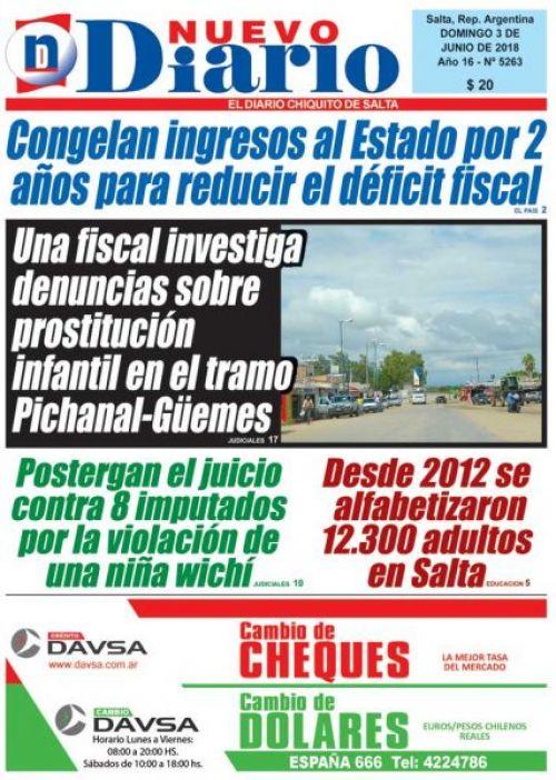 Tapa del 03/06/2018 Nuevo Diario de Salta