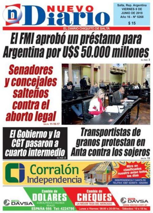 Tapa del 08/06/2018 Nuevo Diario de Salta