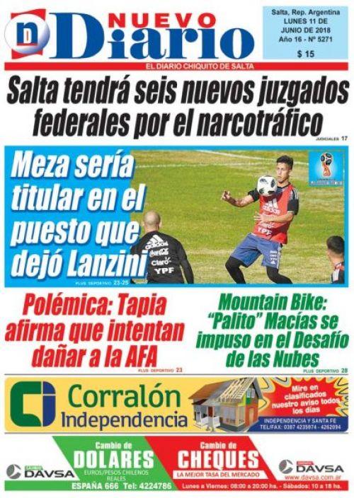 Tapa del 11/06/2018 Nuevo Diario de Salta