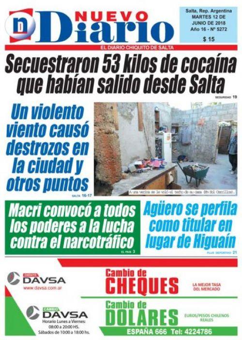 Tapa del 12/06/2018 Nuevo Diario de Salta