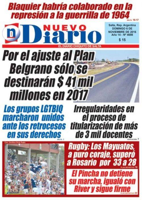 Tapa del 06/11/2016 Nuevo Diario de Salta