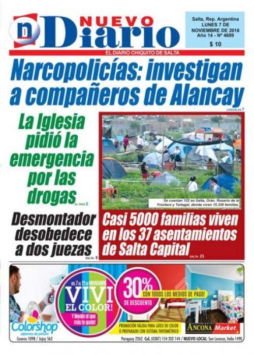 Tapa del 07/11/2016 Nuevo Diario de Salta