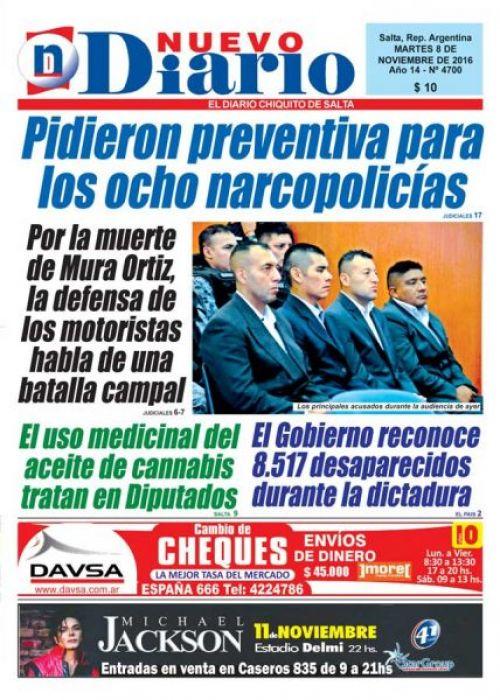 Tapa del 08/11/2016 Nuevo Diario de Salta