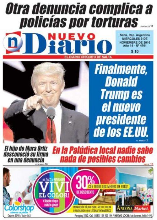 Tapa del 09/11/2016 Nuevo Diario de Salta
