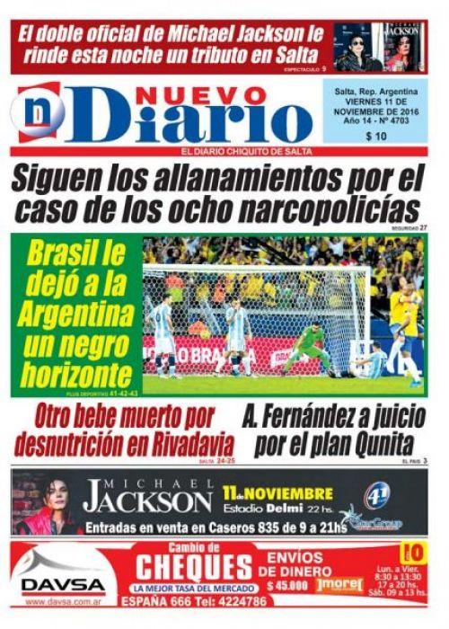 Tapa del 11/11/2016 Nuevo Diario de Salta