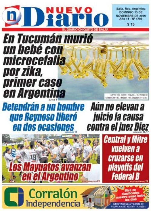 Tapa del 13/11/2016 Nuevo Diario de Salta