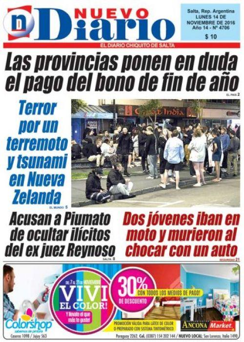 Tapa del 14/11/2016 Nuevo Diario de Salta