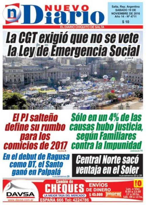 Tapa del 19/11/2016 Nuevo Diario de Salta