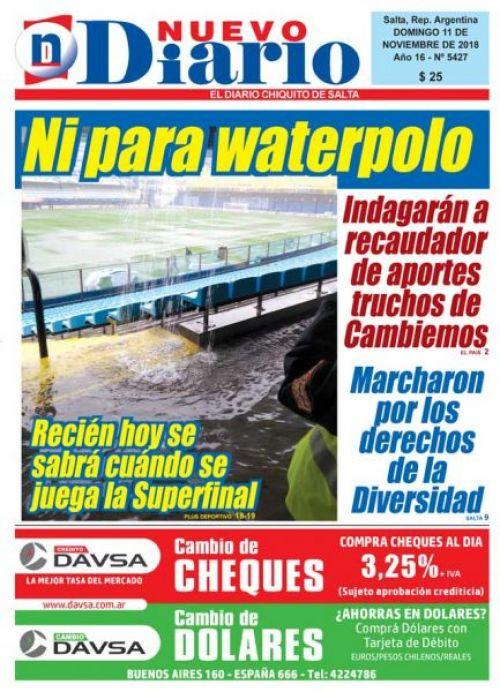 Tapa del 11/11/2018 Nuevo Diario de Salta