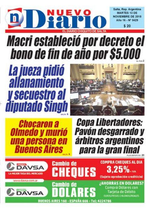 Tapa del 13/11/2018 Nuevo Diario de Salta