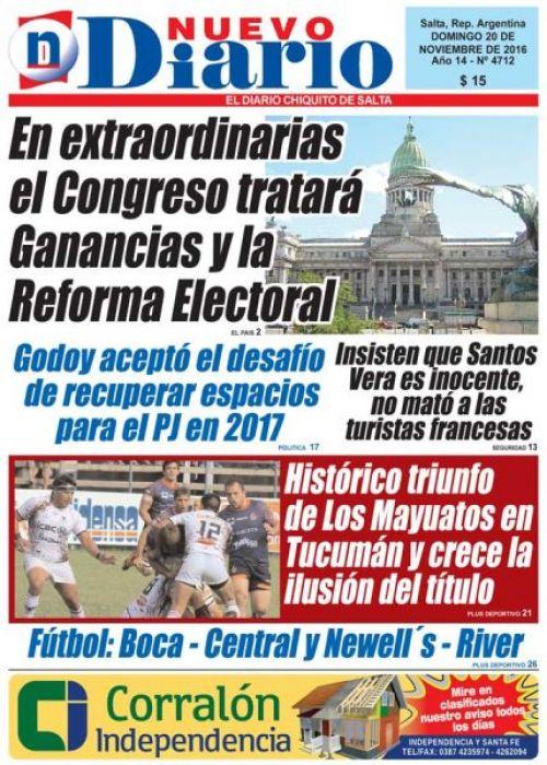 Tapa del 20/11/2016 Nuevo Diario de Salta