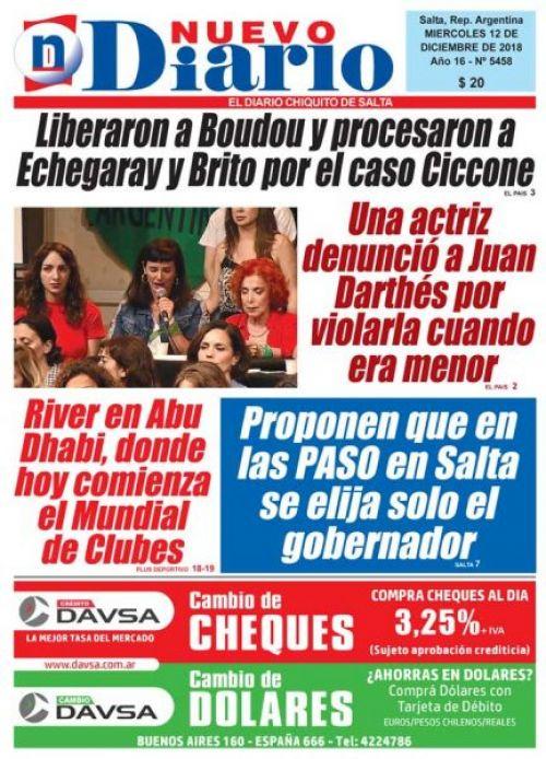 Tapa del 12/12/2018 Nuevo Diario de Salta