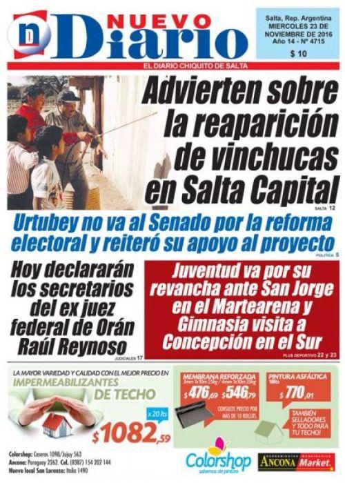 Tapa del 23/11/2016 Nuevo Diario de Salta