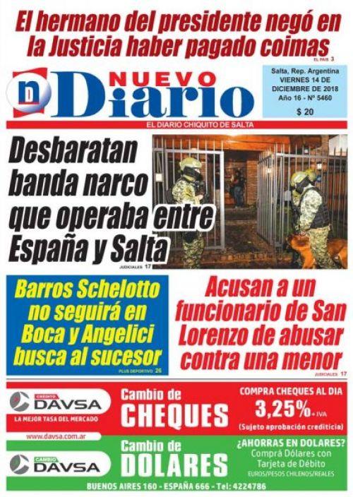 Tapa del 14/12/2018 Nuevo Diario de Salta