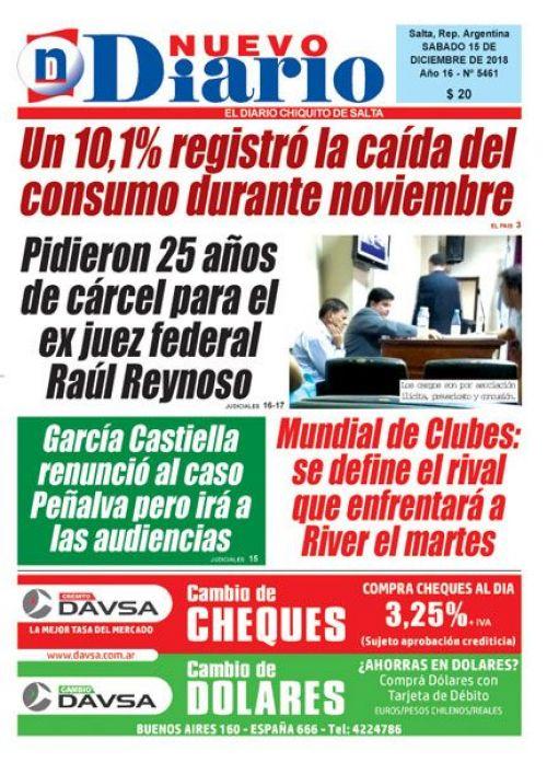 Tapa del 15/12/2018 Nuevo Diario de Salta