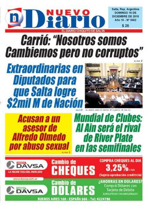 Tapa del 16/12/2018 Nuevo Diario de Salta