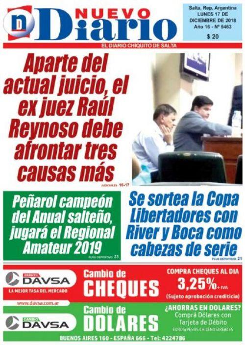 Tapa del 17/12/2018 Nuevo Diario de Salta