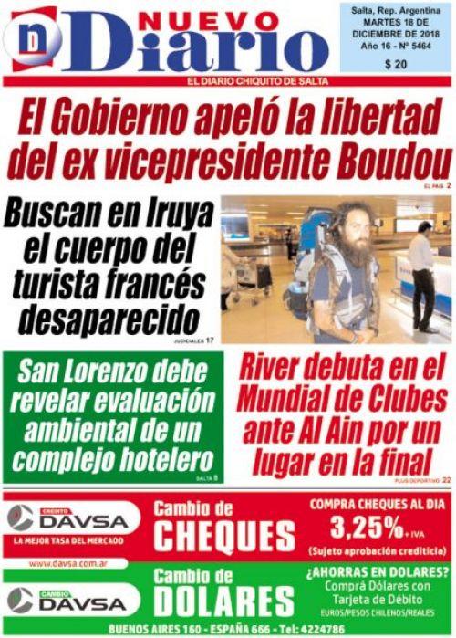 Tapa del 18/12/2018 Nuevo Diario de Salta
