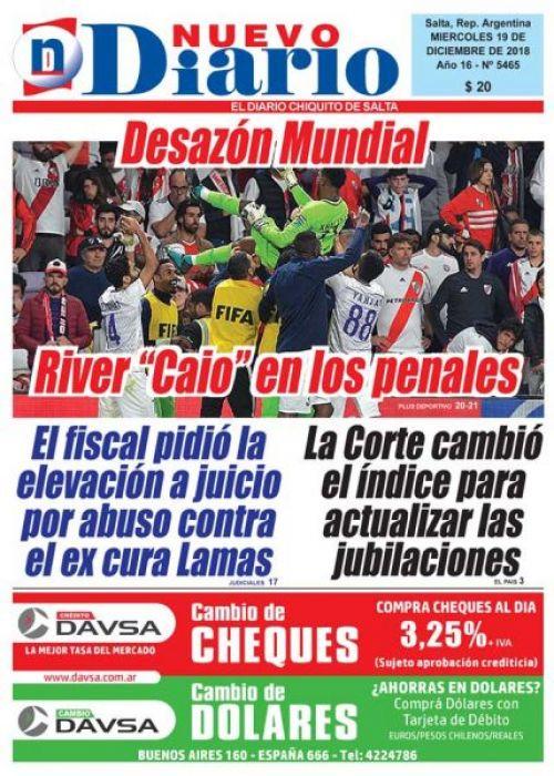 Tapa del 19/12/2018 Nuevo Diario de Salta