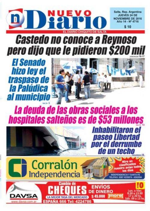 Tapa del 24/11/2016 Nuevo Diario de Salta