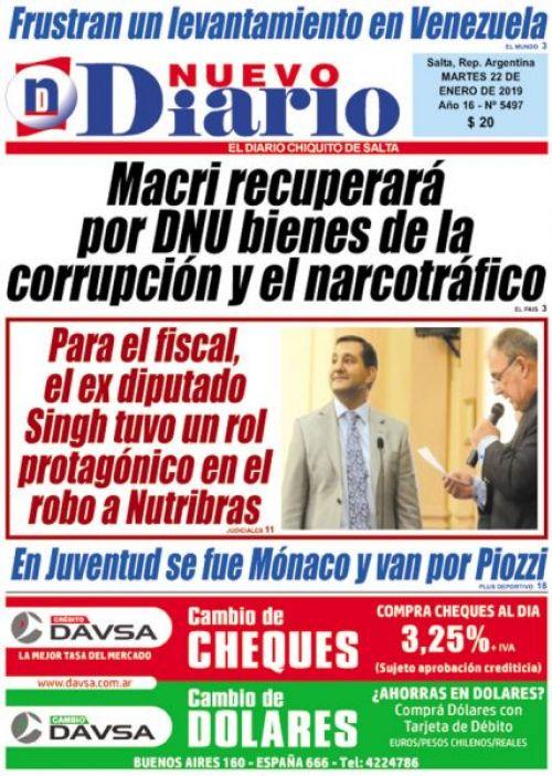 Tapa del 22/01/2019 Nuevo Diario de Salta