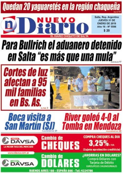 Tapa del 31/01/2019 Nuevo Diario de Salta