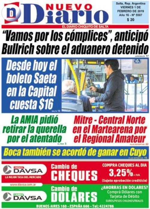 Tapa del 01/02/2019 Nuevo Diario de Salta