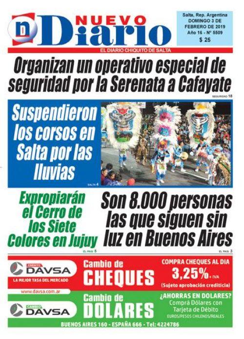 Tapa del 03/02/2019 Nuevo Diario de Salta