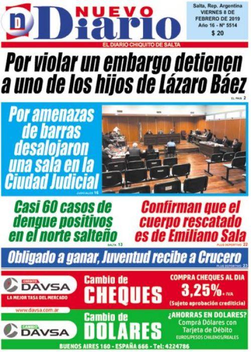 Tapa del 08/02/2019 Nuevo Diario de Salta