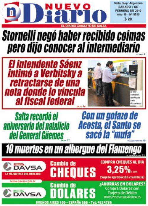 Tapa del 09/02/2019 Nuevo Diario de Salta