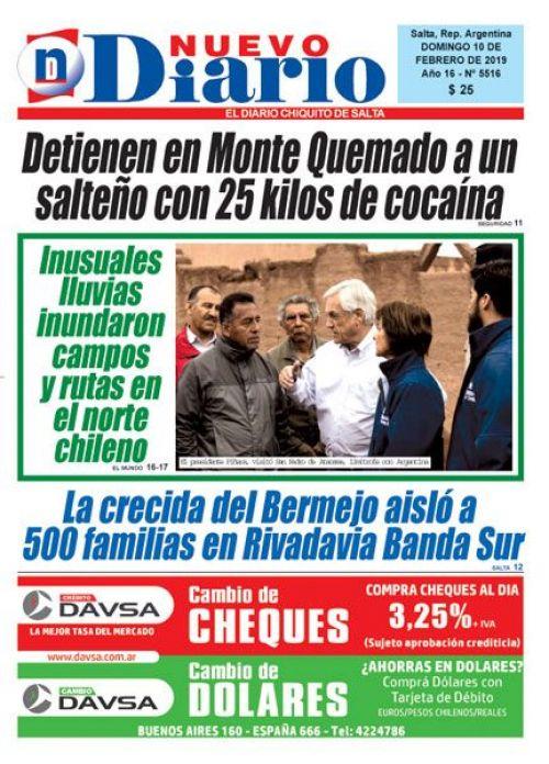 Tapa del 10/02/2019 Nuevo Diario de Salta