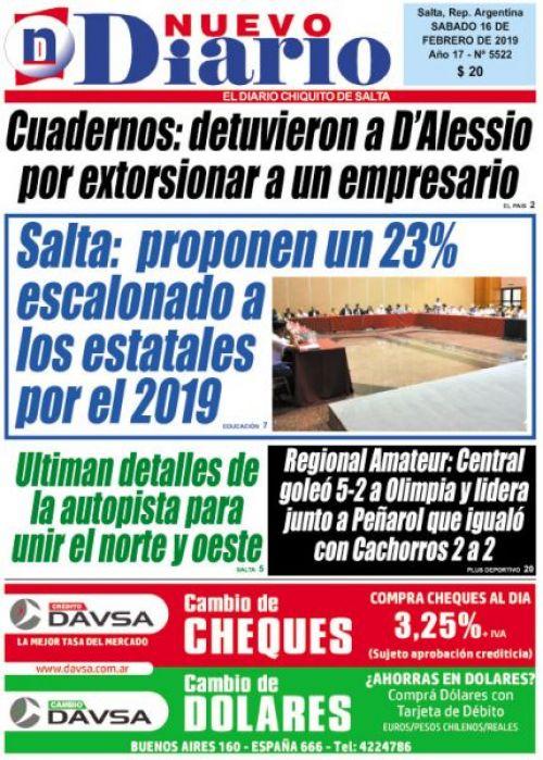 Tapa del 16/02/2019 Nuevo Diario de Salta