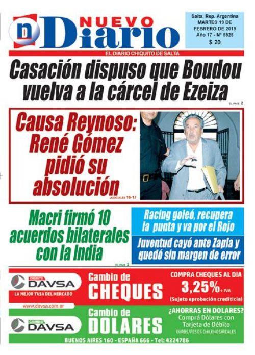 Tapa del 19/02/2019 Nuevo Diario de Salta