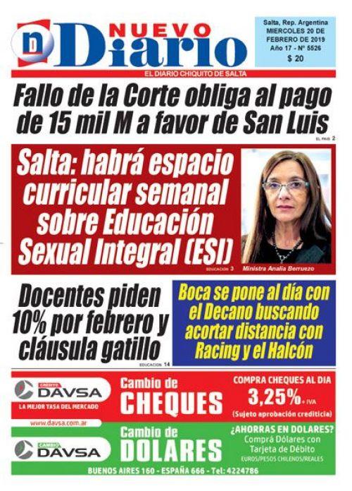 Tapa del 20/02/2019 Nuevo Diario de Salta