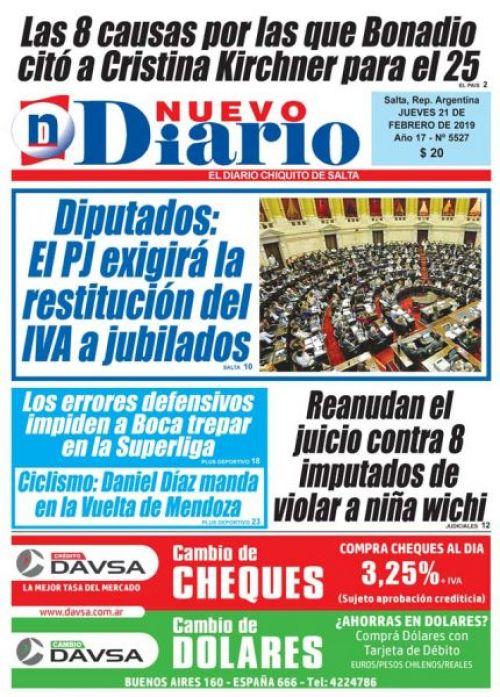 Tapa del 21/02/2019 Nuevo Diario de Salta
