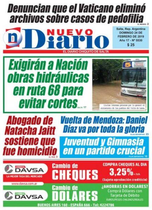 Tapa del 24/02/2019 Nuevo Diario de Salta