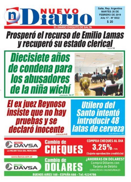 Tapa del 26/02/2019 Nuevo Diario de Salta