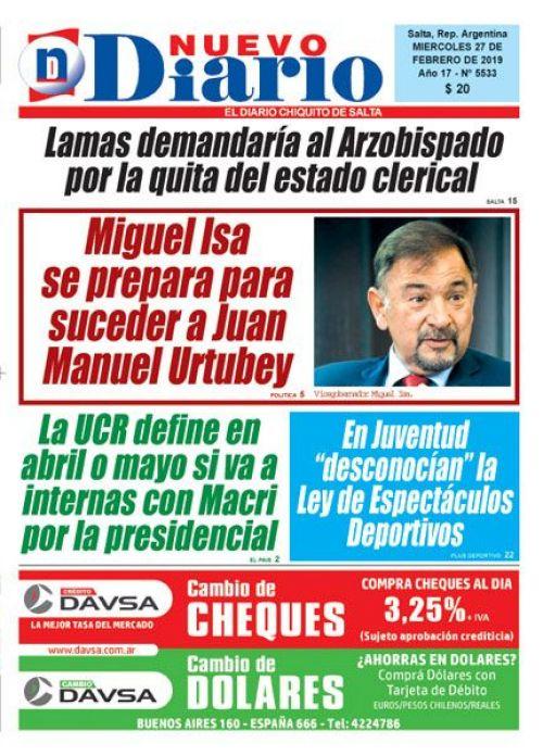Tapa del 27/02/2019 Nuevo Diario de Salta