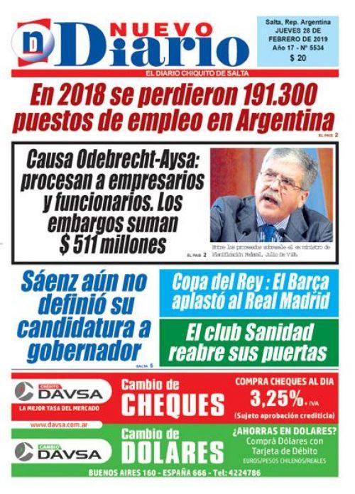 Tapa del 28/02/2019 Nuevo Diario de Salta