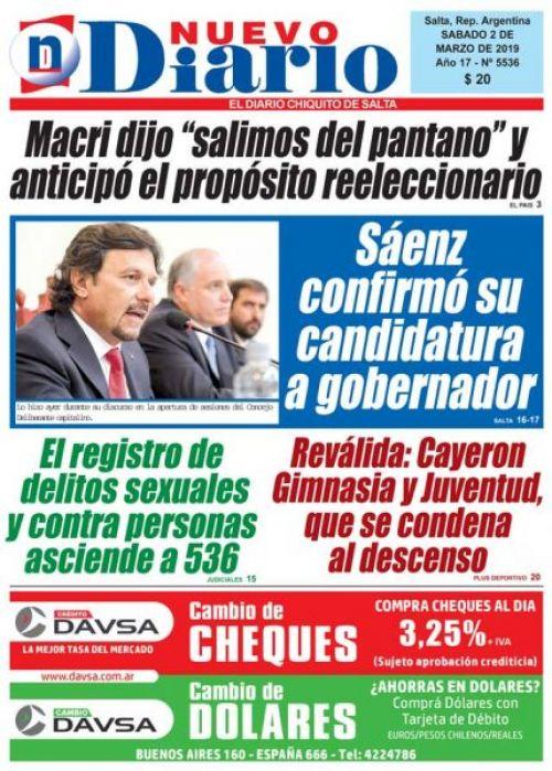 Tapa del 02/03/2019 Nuevo Diario de Salta