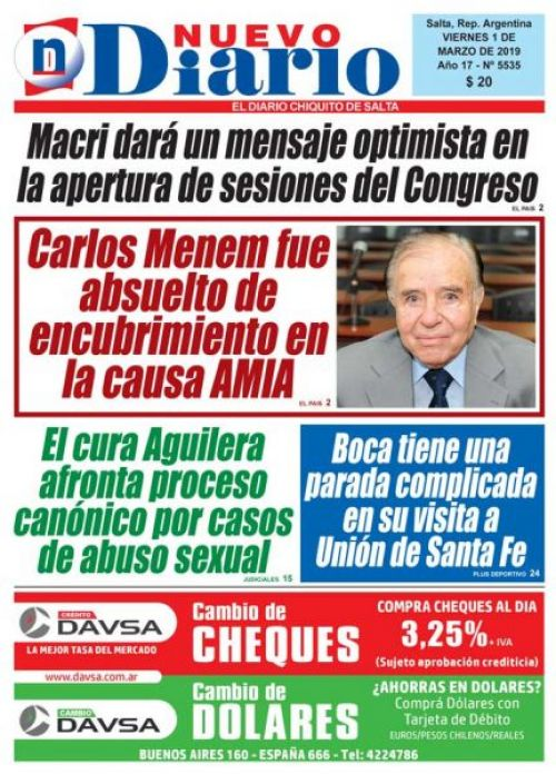 Tapa del 01/03/2019 Nuevo Diario de Salta