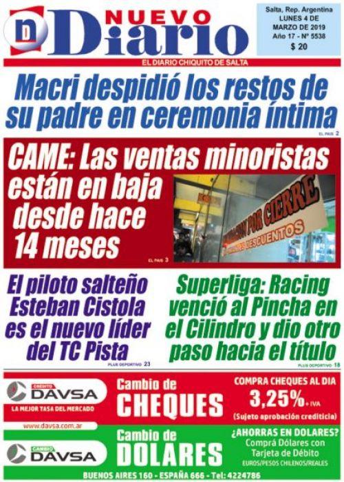Tapa del 04/03/2019 Nuevo Diario de Salta