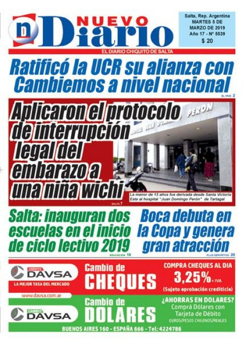 Tapa del 05/03/2019 Nuevo Diario de Salta