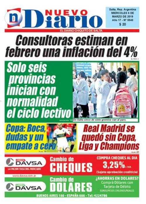 Tapa del 06/03/2019 Nuevo Diario de Salta