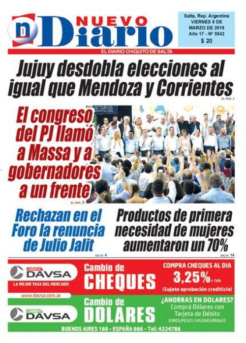 Tapa del 08/03/2019 Nuevo Diario de Salta