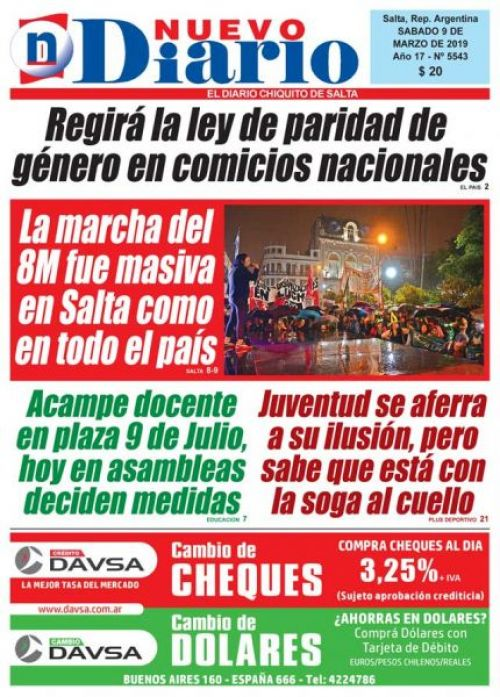 Tapa del 09/03/2019 Nuevo Diario de Salta