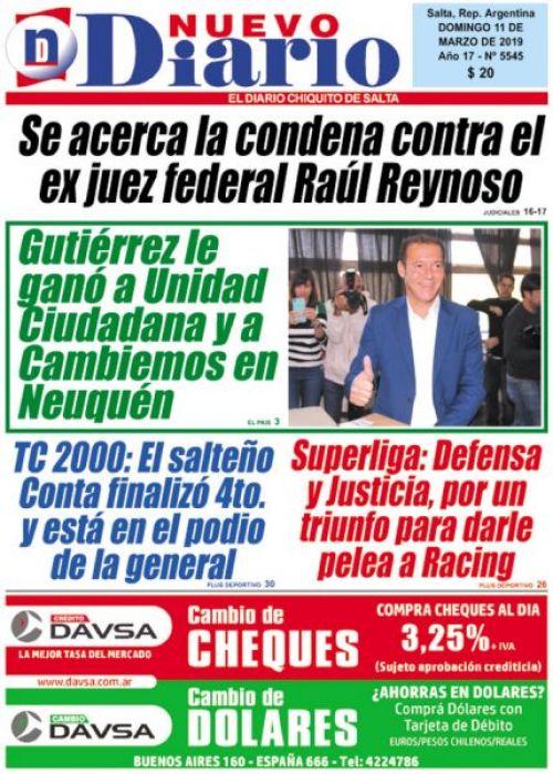 Tapa del 11/03/2019 Nuevo Diario de Salta