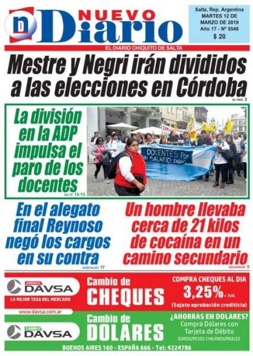 Tapa del 12/03/2019 Nuevo Diario de Salta