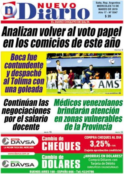 Tapa del 13/03/2019 Nuevo Diario de Salta