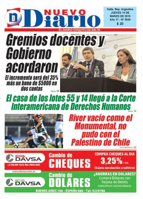 Tapa del 14/03/2019 Nuevo Diario de Salta